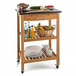 Klarstein Tennessee, kuchynský vozík, servírovací vozík, 3 poschodia, bambus, žula